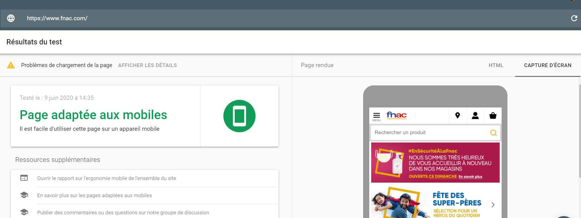 Google test optimisation mobile