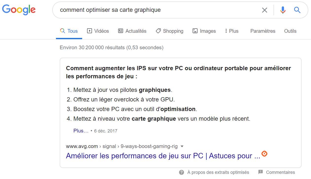 Answer Box Google comment optimiser sa carte graphique