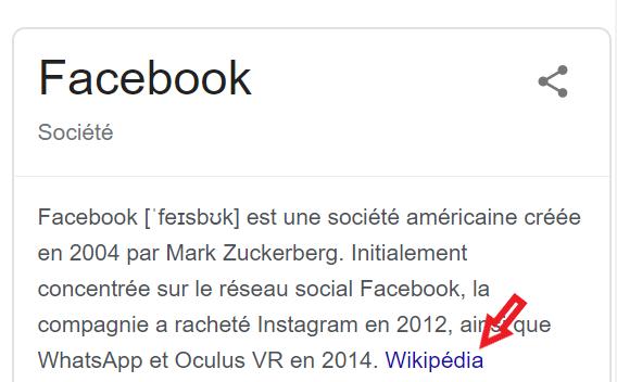 présentation Facebook Wikipédia Answer Box