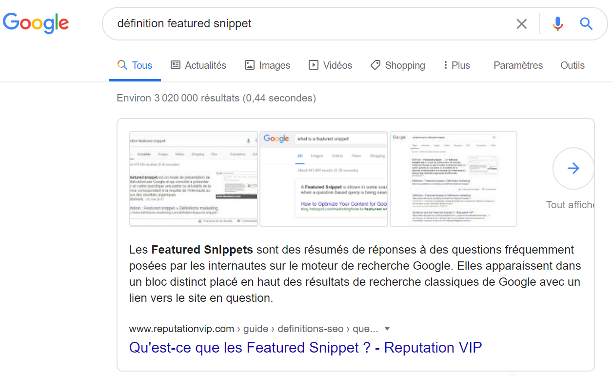 Answer Box Google définition featured snippet