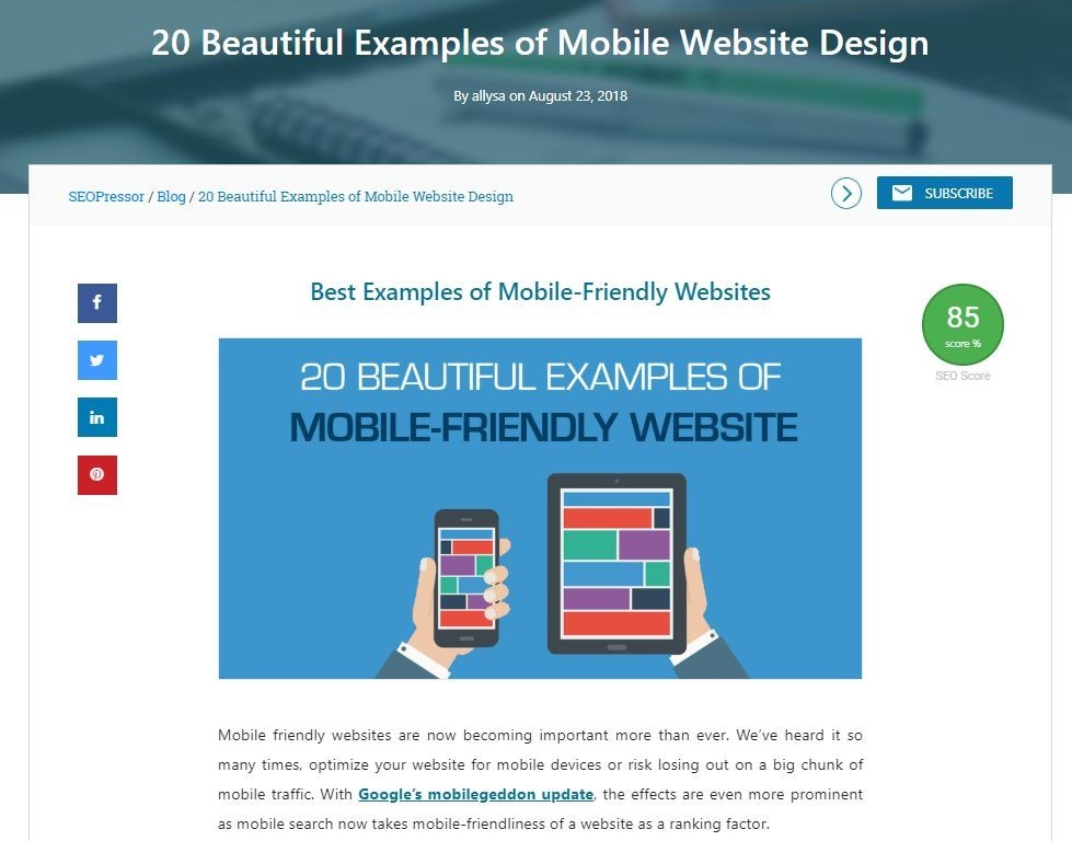 article seopressor mobile website design